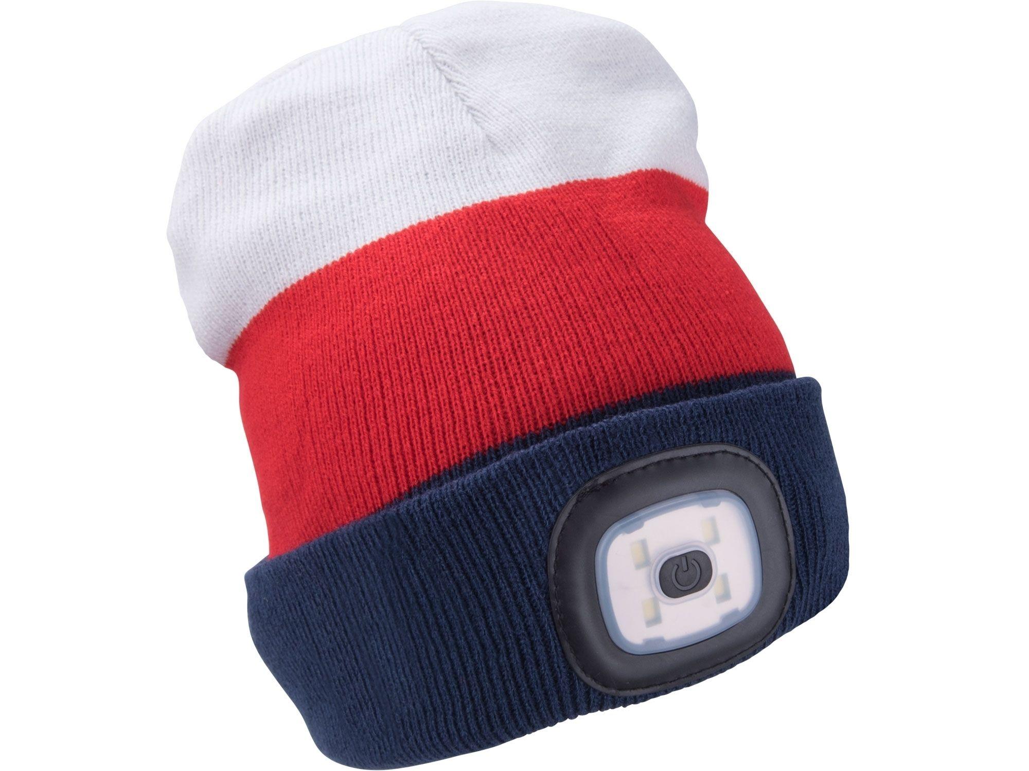 Čepice s čelovkou 4x45lm, USB nabíjení, bílá/červená/modrá, univerzální velikost EXTOL-LIGHT