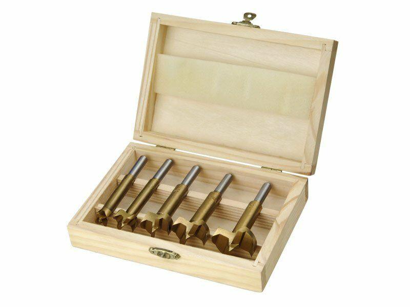 Frézy-sukovníky, do dřeva, 5ks, 15-20-25-30-35mm, stopka 8mm, titan. úprava EXTOL-CRAFT
