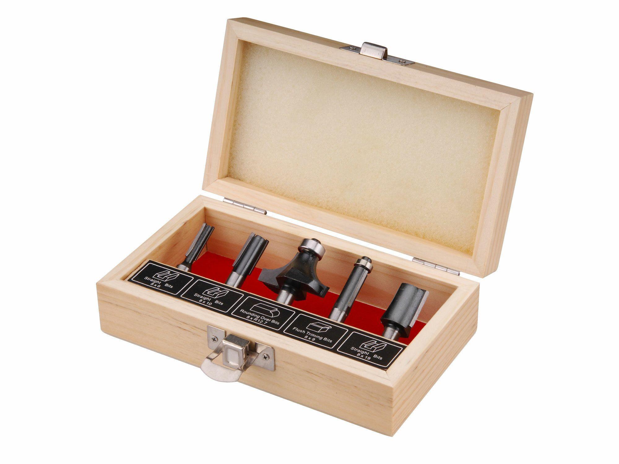Frézy tvarové do dřeva s SK plátky, sada 5ks, stopka 8mm, v dřevěné kazetě, EXTOL CRAFT