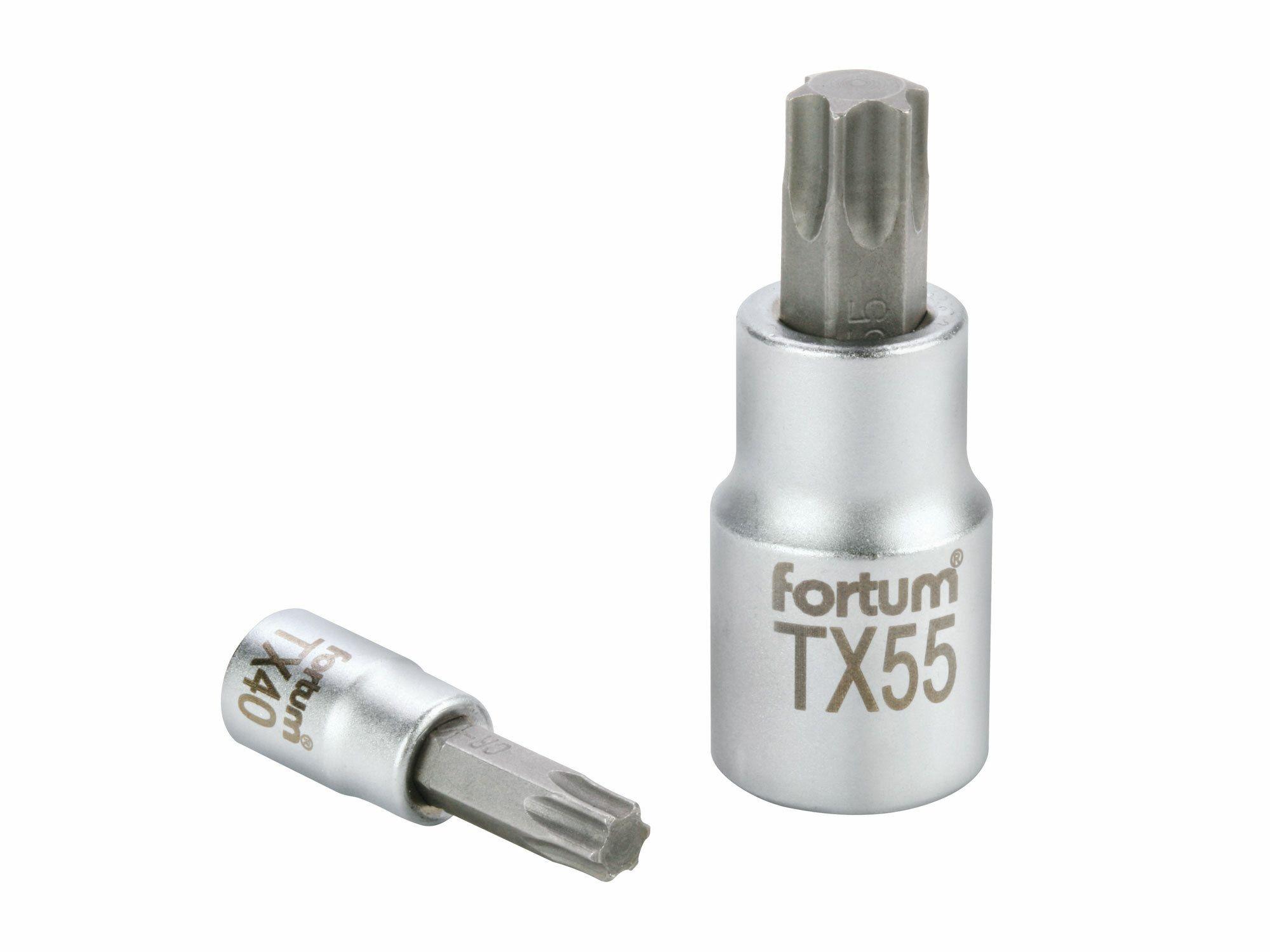 "Hlavice zástrčná TORX, 1/2"", TX 45, L 55mm, CrV/S2, FORTUM"