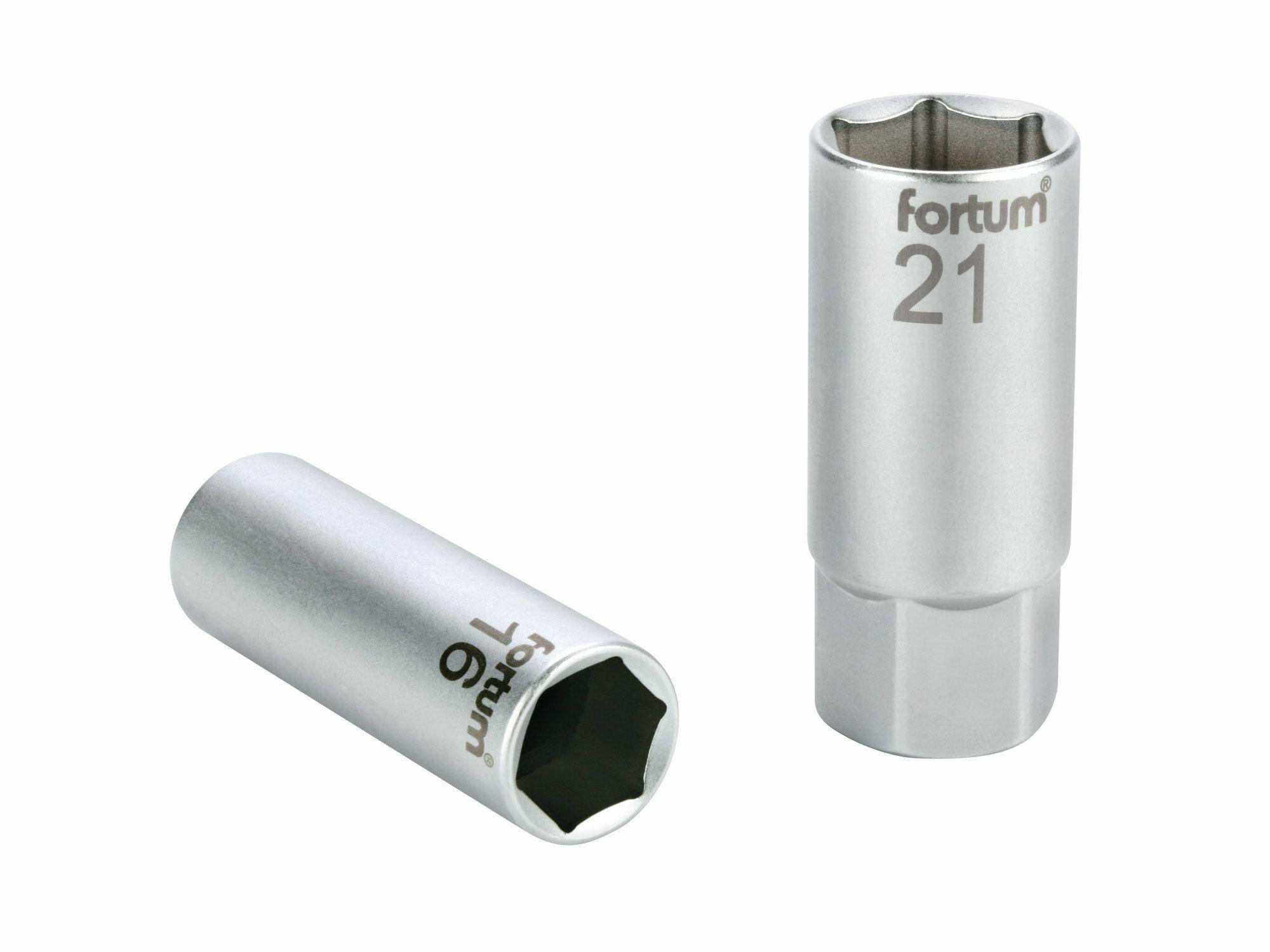 """Hlavice nástrčná na zapalovací svíčky, 1/2"""", 21mm, L 65mm, magnet, 61CrV5, FORTUM"""