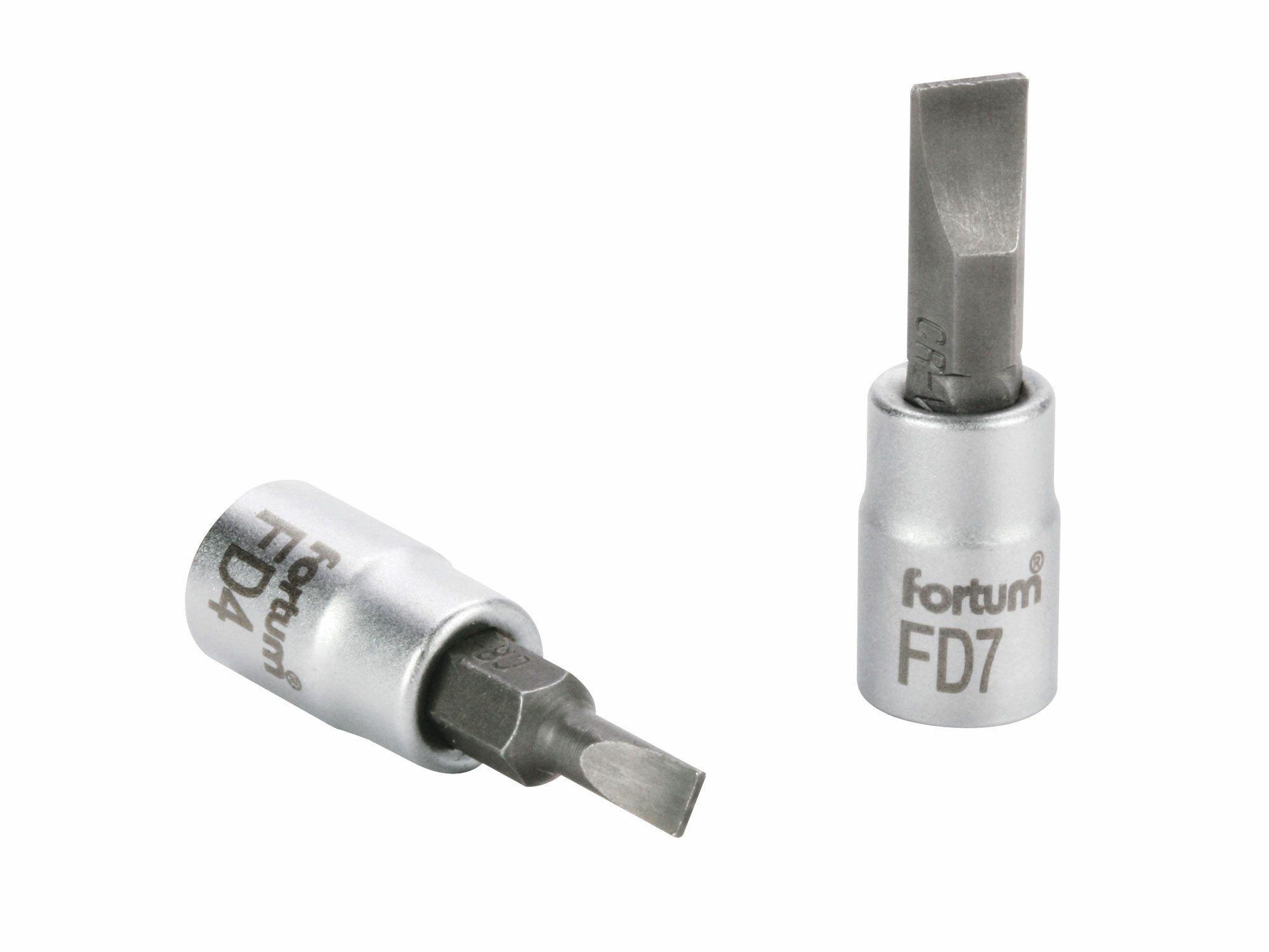 """Hlavice zástrčná šroubovák plochý, 1/4"""", 7mm, L 37mm, CrV/S2 FORTUM"""