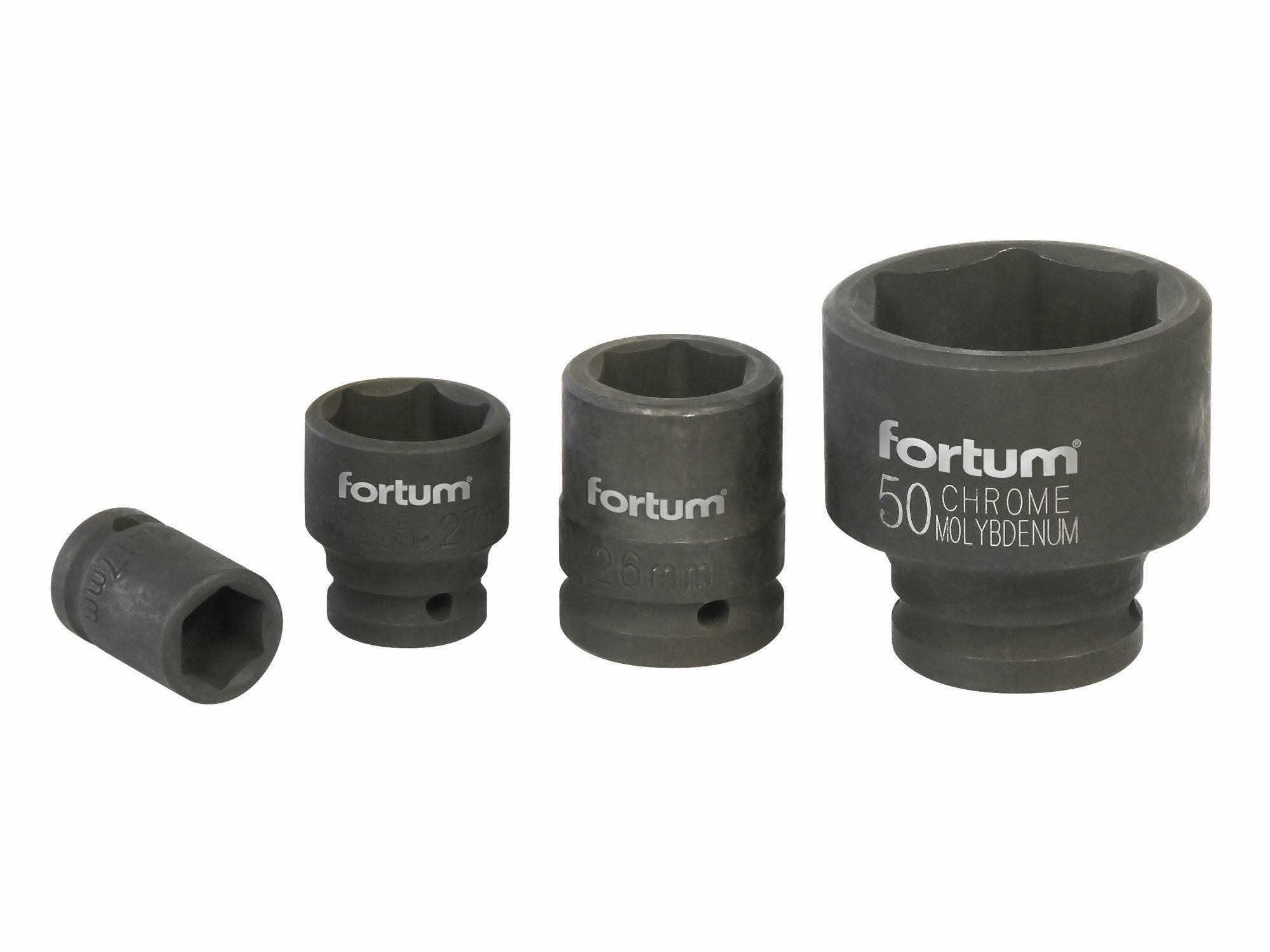 """Hlavice nástrčná rázová, 3/4"""", 27mm, L 52mm, CrMoV, FORTUM"""