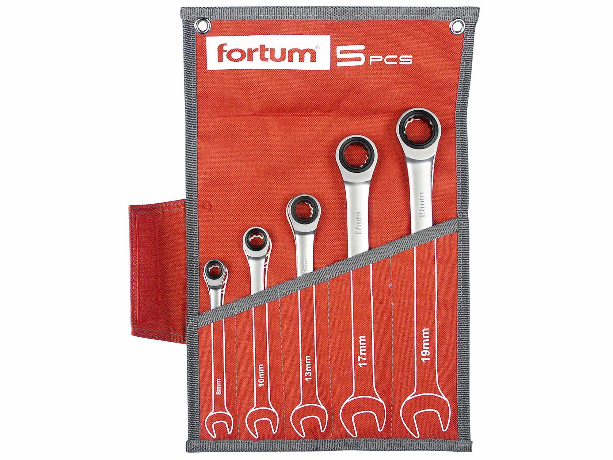 Klíče ráčnové očkoploché, sada 5ks, 8-10-13-17-19mm, CrV/S2 FORTUM