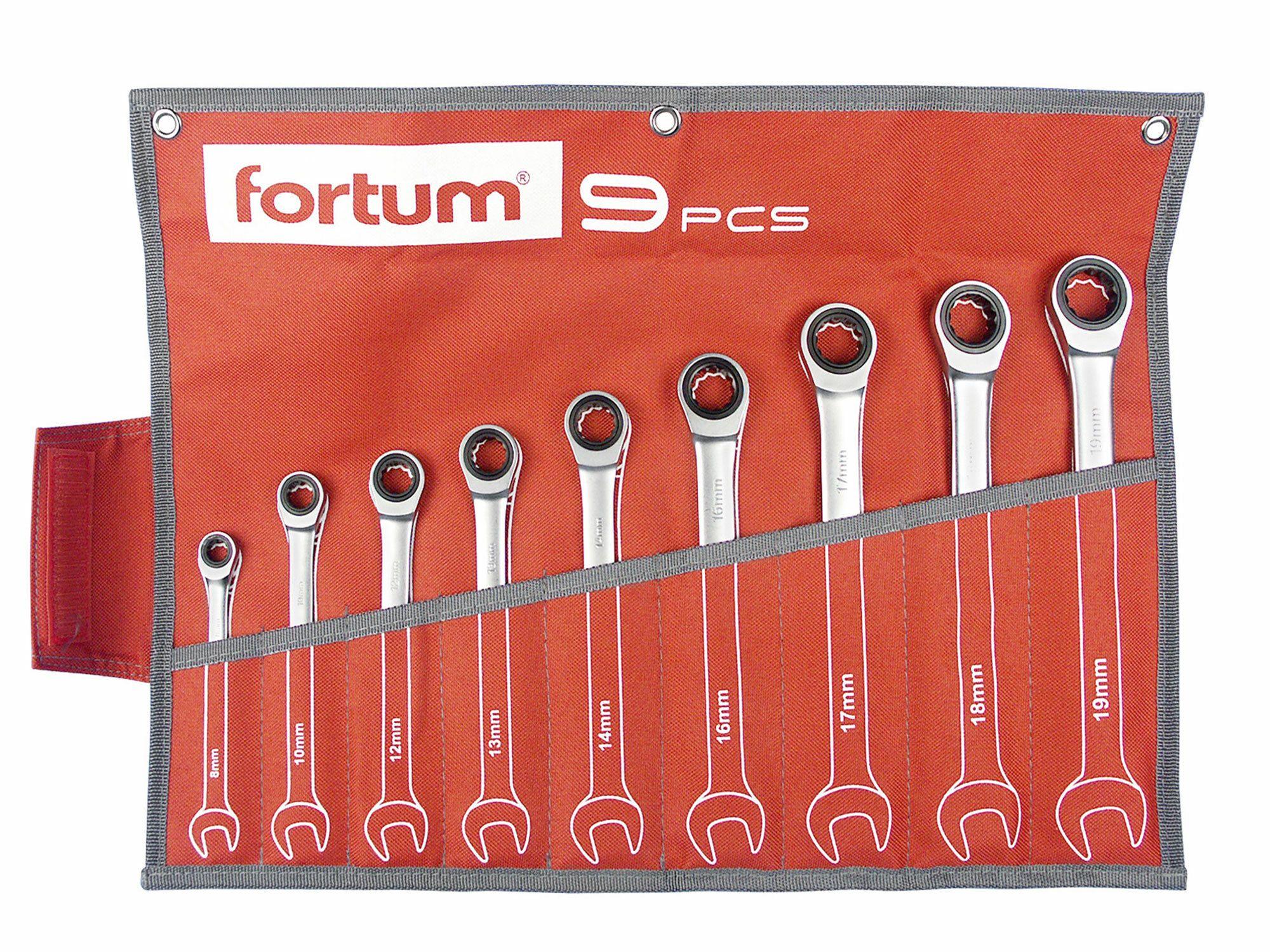Klíče ráčnové očkoploché, sada 9ks, 8-10-12-13-14-16-17-18-19mm, CrV/S2, FORTUM