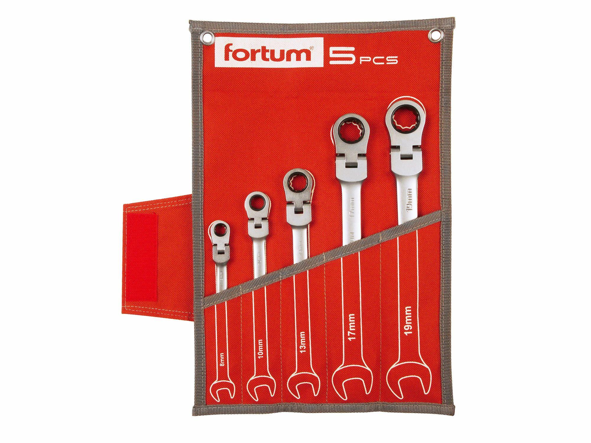Klíče ráčnové očkoploché, sada 5ks, 8-10-13-17-19mm, CrV/S2, FORTUM