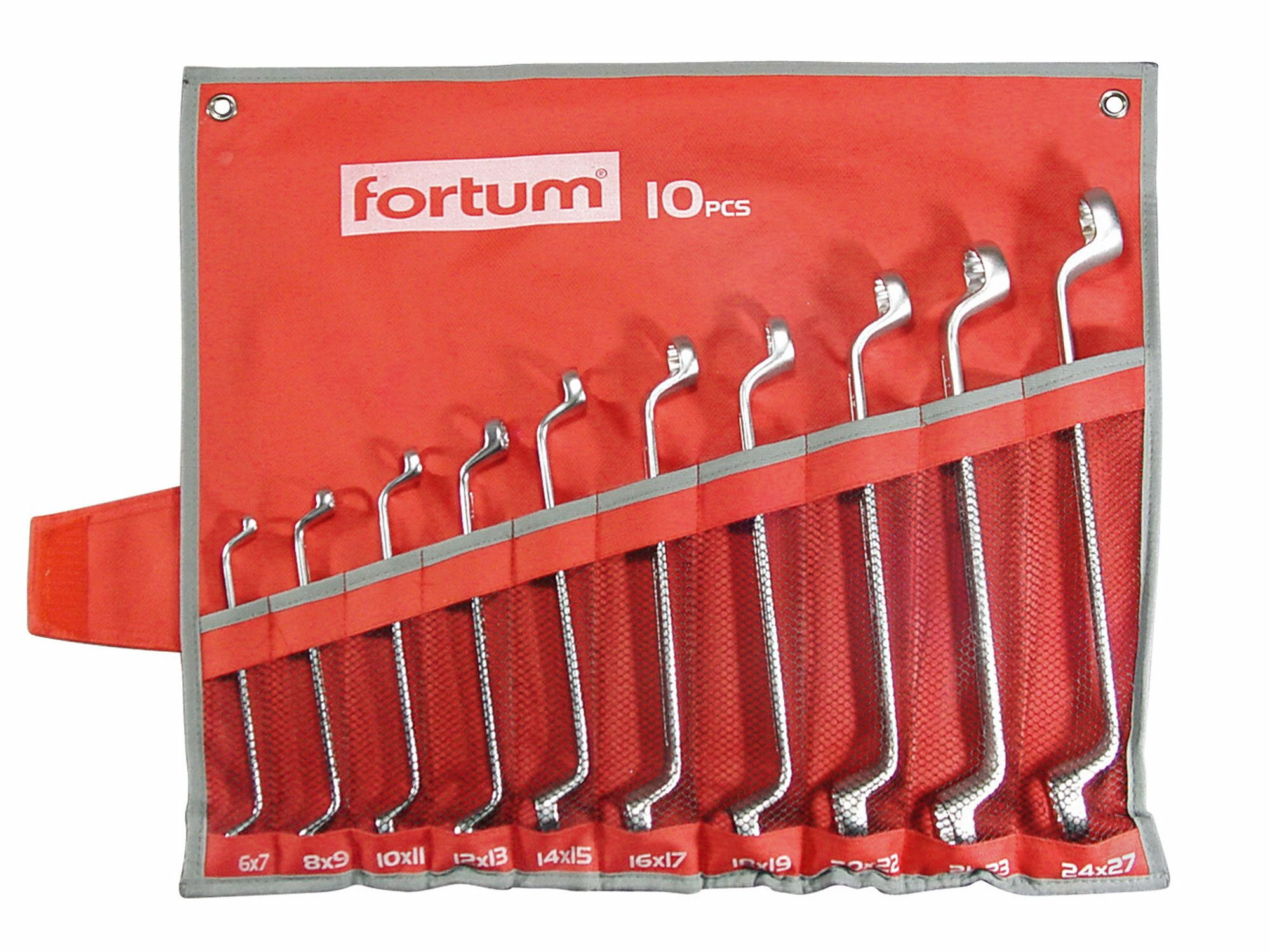 Klíče očkové 10ks, 6x7, 8x9, 10x11, 12x13, 14x15, 16x17, 18x19, 20x22, 21x23, 24x27 FORTUM