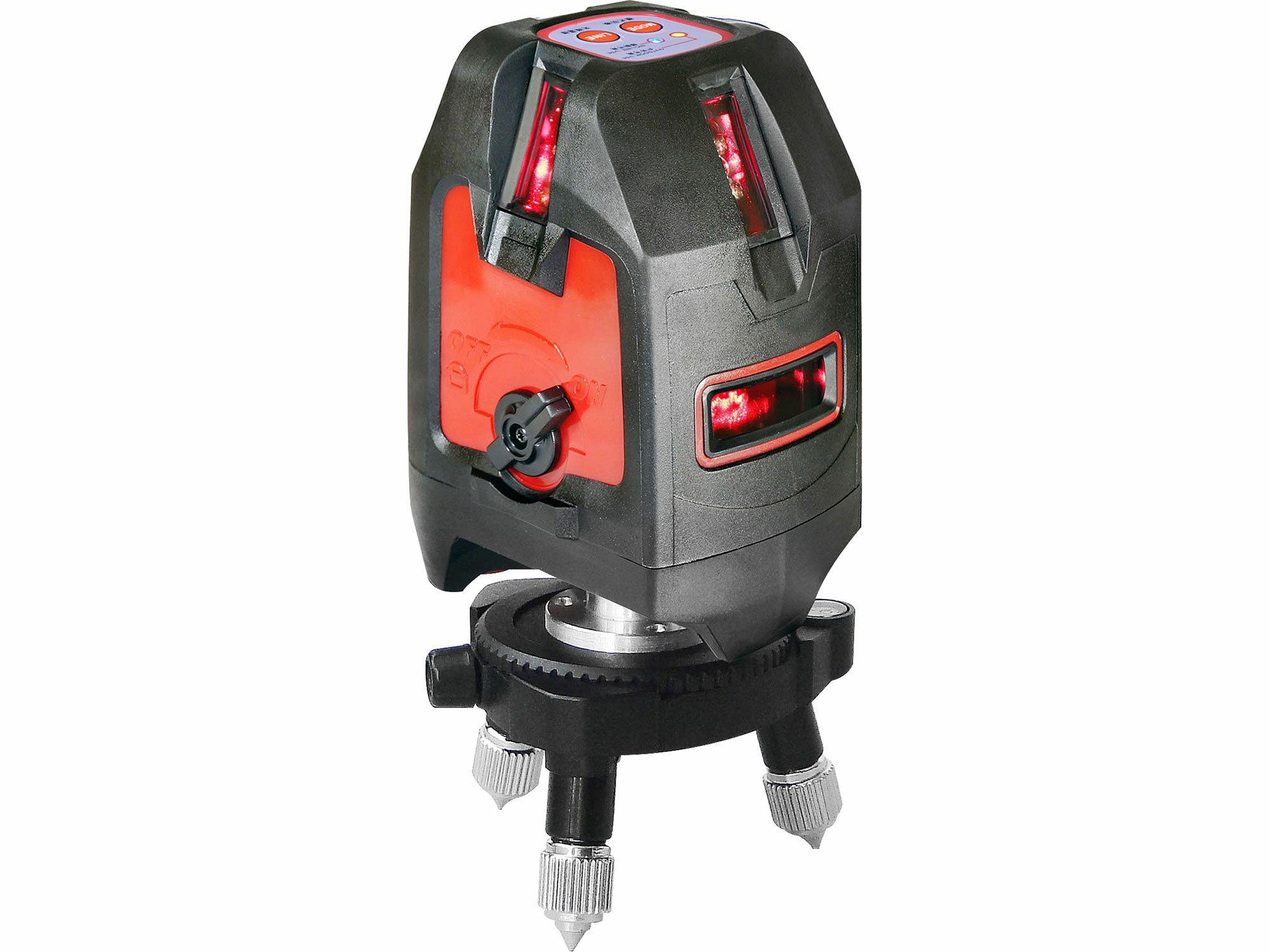 """Laser liniový, křížový samonivelační, přesnost 1,5mm/5m, závit 1/4"""" a 5/8, FORTUM EXTOL"""