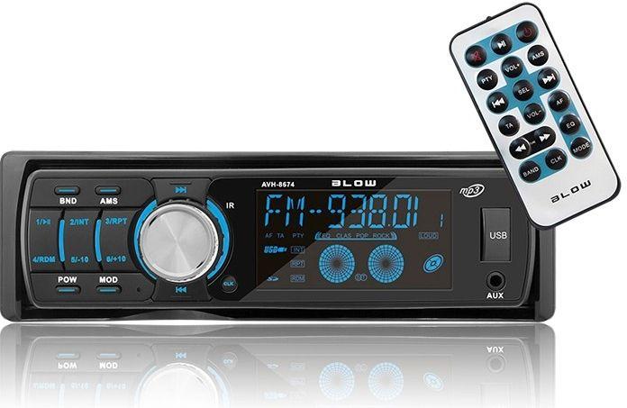 Autorádio BLOW AVH-8674 MP3, USB, SD, MMC, FM, dálkové ovládání, různé barvy podsvícení