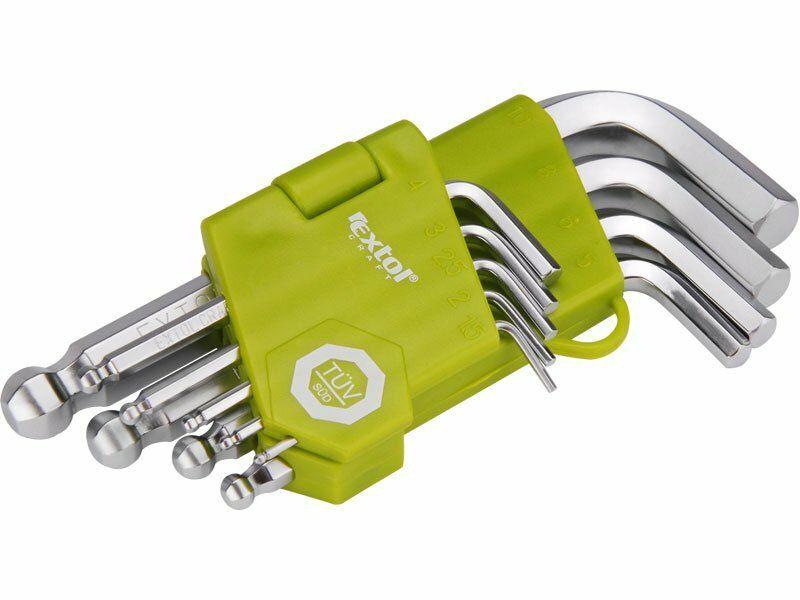 L-klíče imbus krátké, sada 9ks, 1,5-2-2,5-3-4-5-6-8-10mm, s kuličkou EXTOL-CRAFT