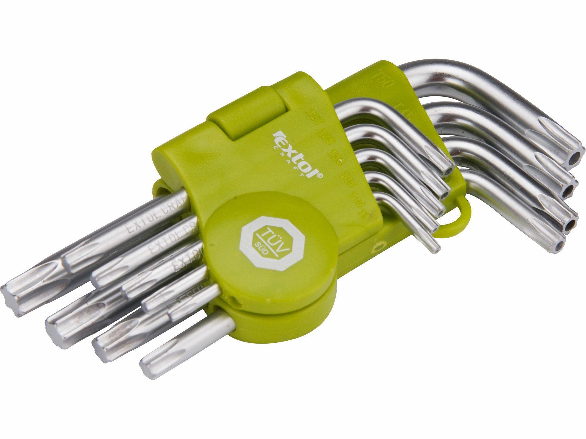 L-klíče TORX krátké, sada 9ks, T 10-15-20-25-27-30-40-45-50 EXTOL-CRAFT