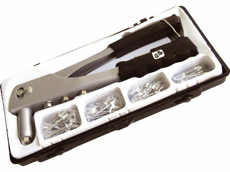 Kleště nýtovací + sada nýtů 60ks, pro trhací nýty 2,4-3,2-4,0-4,8mm z hliníku, EXTOL CRAFT