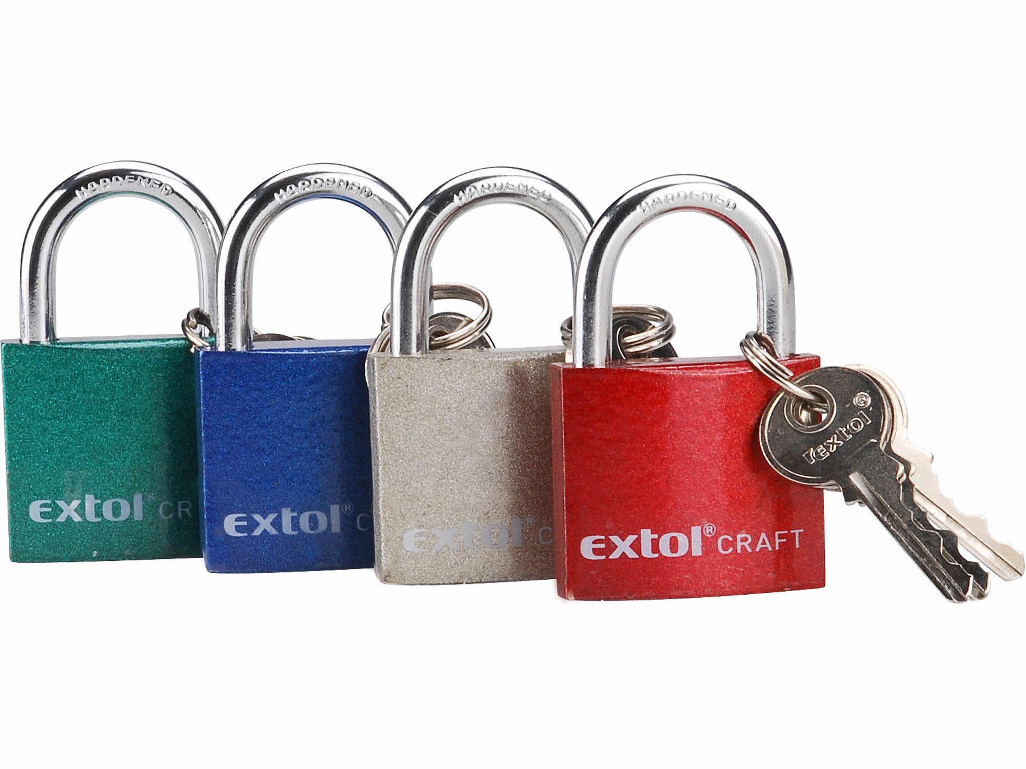 Zámek visací litinový barevný, 25mm, 3 klíče, EXTOL CRAFT