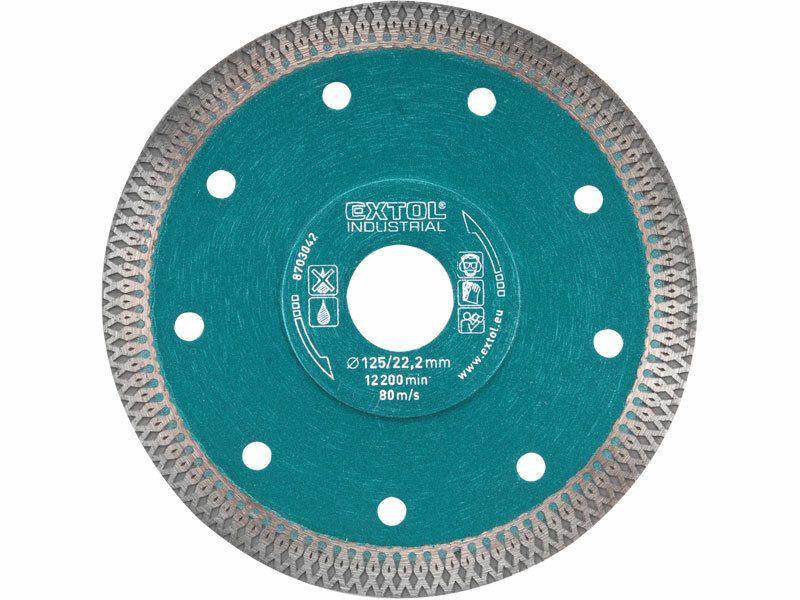 Kotouč diamantový řezný turbo Thin Cut, 230x22,2mm, suché i mokré řezání, EXTOL INDUSTRIAL