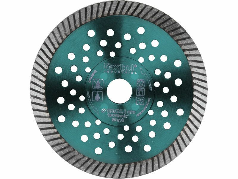 Kotouč diamantový řezný turbo Fast Cut, 125x22,2mm, suché i mokré řezání, EXTOL INDUSTRIAL