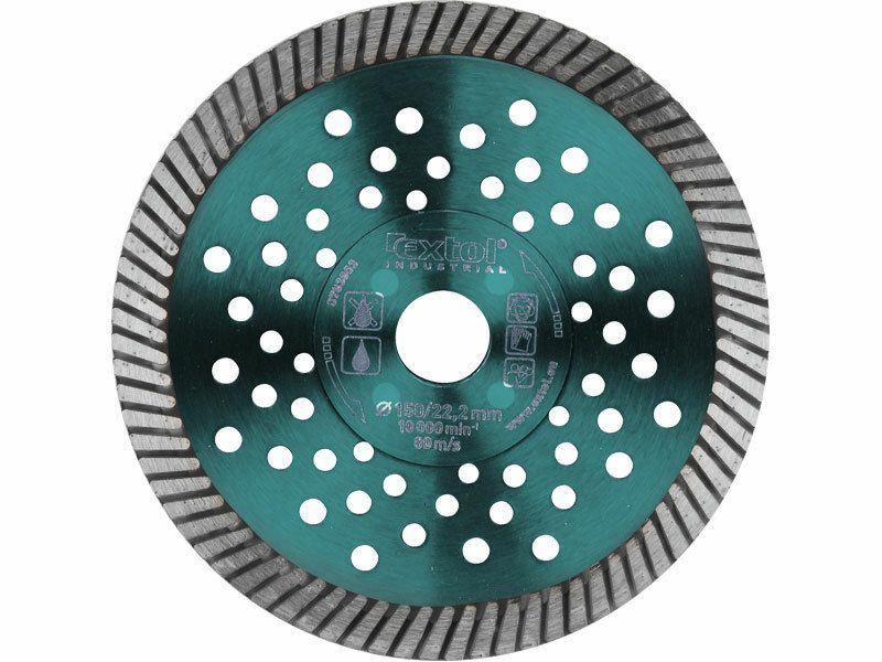Kotouč diamantový řezný turbo Fast Cut, 150x22,2mm, suché i mokré řezání EXTOL-INDUSTRIAL