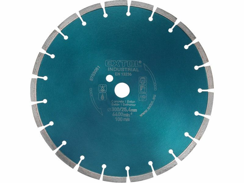 Kotouč diamantový řezný segmentový na BETON, 300x25,4mm, suché i mokré řezání, EXTOL INDUS EXTOL INDUSTRIAL