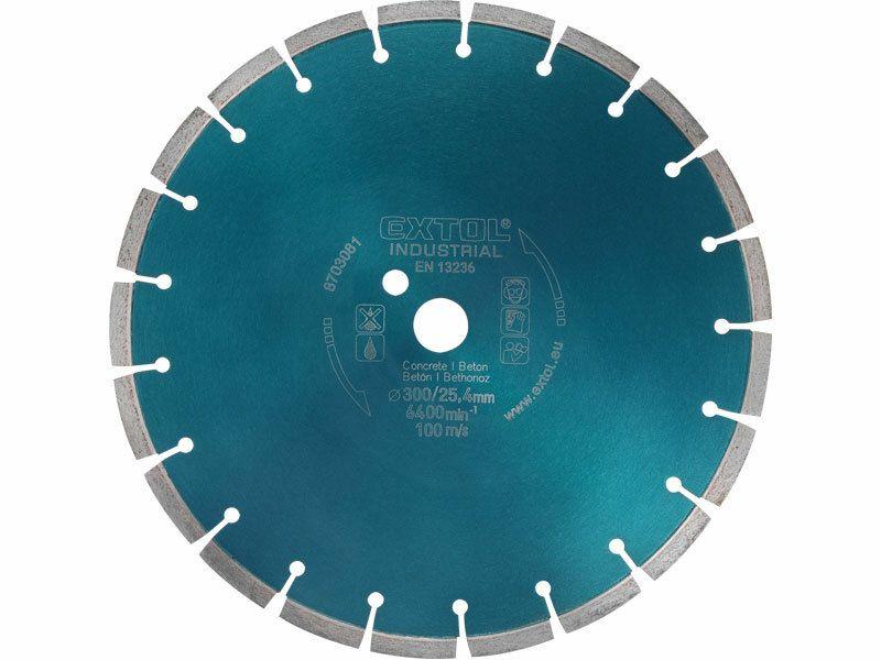Kotouč diamantový řezný segmentový na BETON, 400x25,4mm, suché i mokré řezání, EX INDUSTR. EXTOL INDUSTRIAL