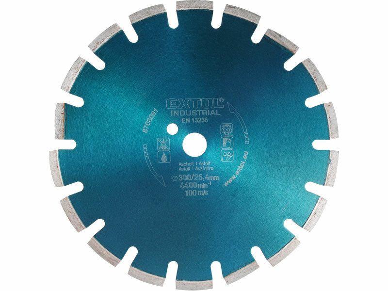 Kotouč diamantový řezný segmentový na ASFALT, 300x25,4mm, suché i mokré řezání, EXTOL INDU EXTOL INDUSTRIAL