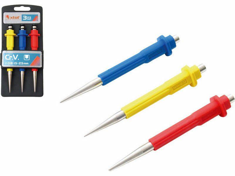 Důlčíky, sada 3ks, 0,8-1,5-2,5mm, délka 125mm, CrV, EXTOL PREMIUM