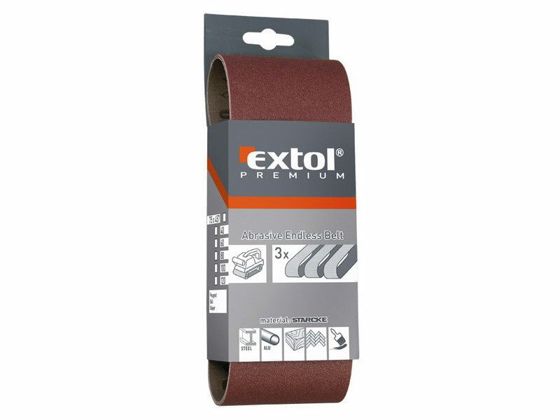 Plátno brusné nekonečný pás, bal. 3ks, P60, 75x457mm EXTOL-PREMIUM