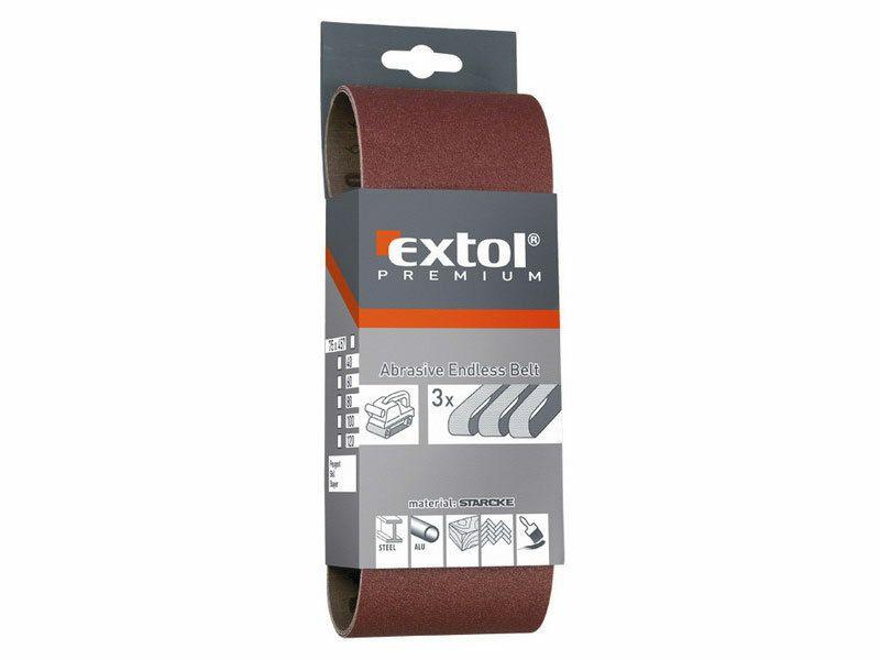 Plátno brusné nekonečný pás, bal. 3ks, P100, 75x457mm EXTOL-PREMIUM