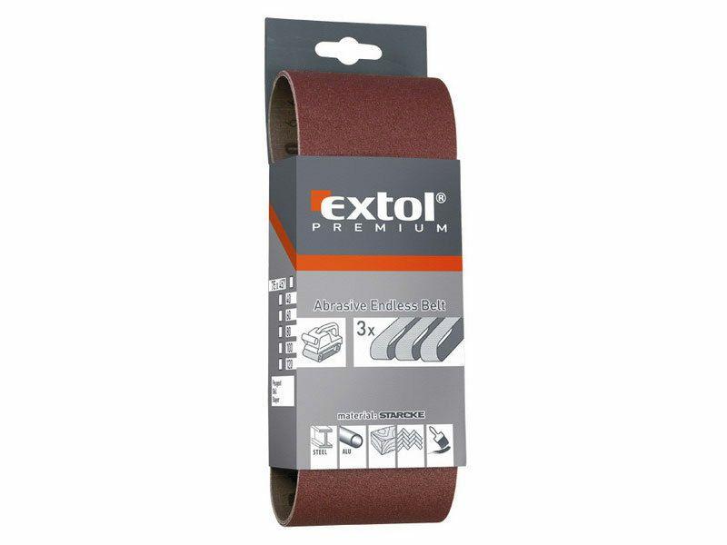 Plátno brusné nekonečný pás, bal. 3ks, P100, 75x533mm EXTOL-PREMIUM