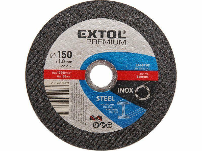 Kotouč řezný na ocel/nerez, 150x1,0x22,2mm, EXTOL PREMIUM