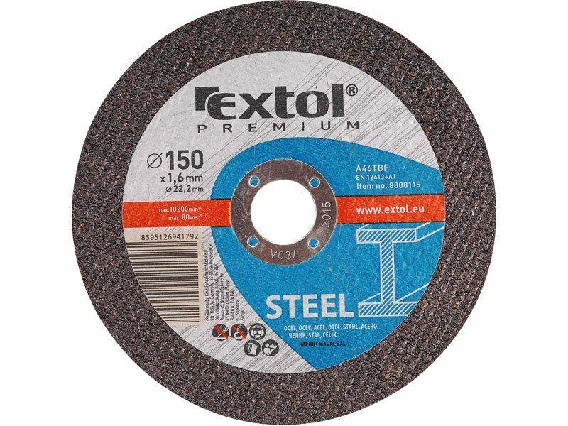 Kotouč řezný na ocel, 115x1,6x22,2mm, EXTOL PREMIUM 8808110