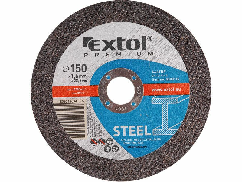 Kotouč řezný na ocel, 230x1,9x22,2mm, EXTOL PREMIUM