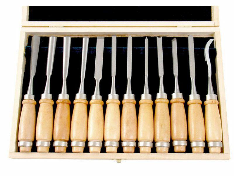 Dláta řezbářská, sada 12ks, délka 200mm, v dřevěné krabici, CrV, EXTOL PREMIUM
