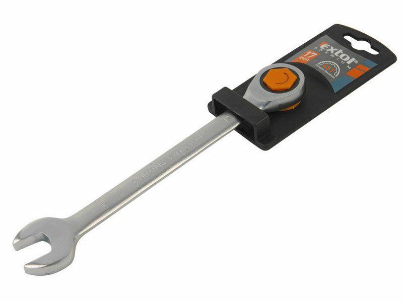 Klíč ráčnový očkoplochý, 45 zubů, 17mm, CrV, EXTOL PREMIUM