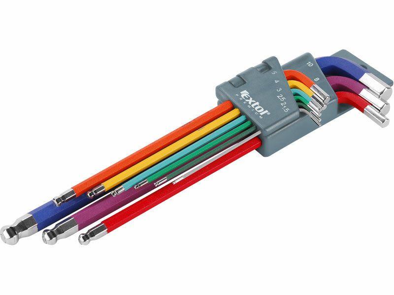 L-klíče imbus prodloužené barevné, sada 9ks, CrV EXTOL-PREMIUM