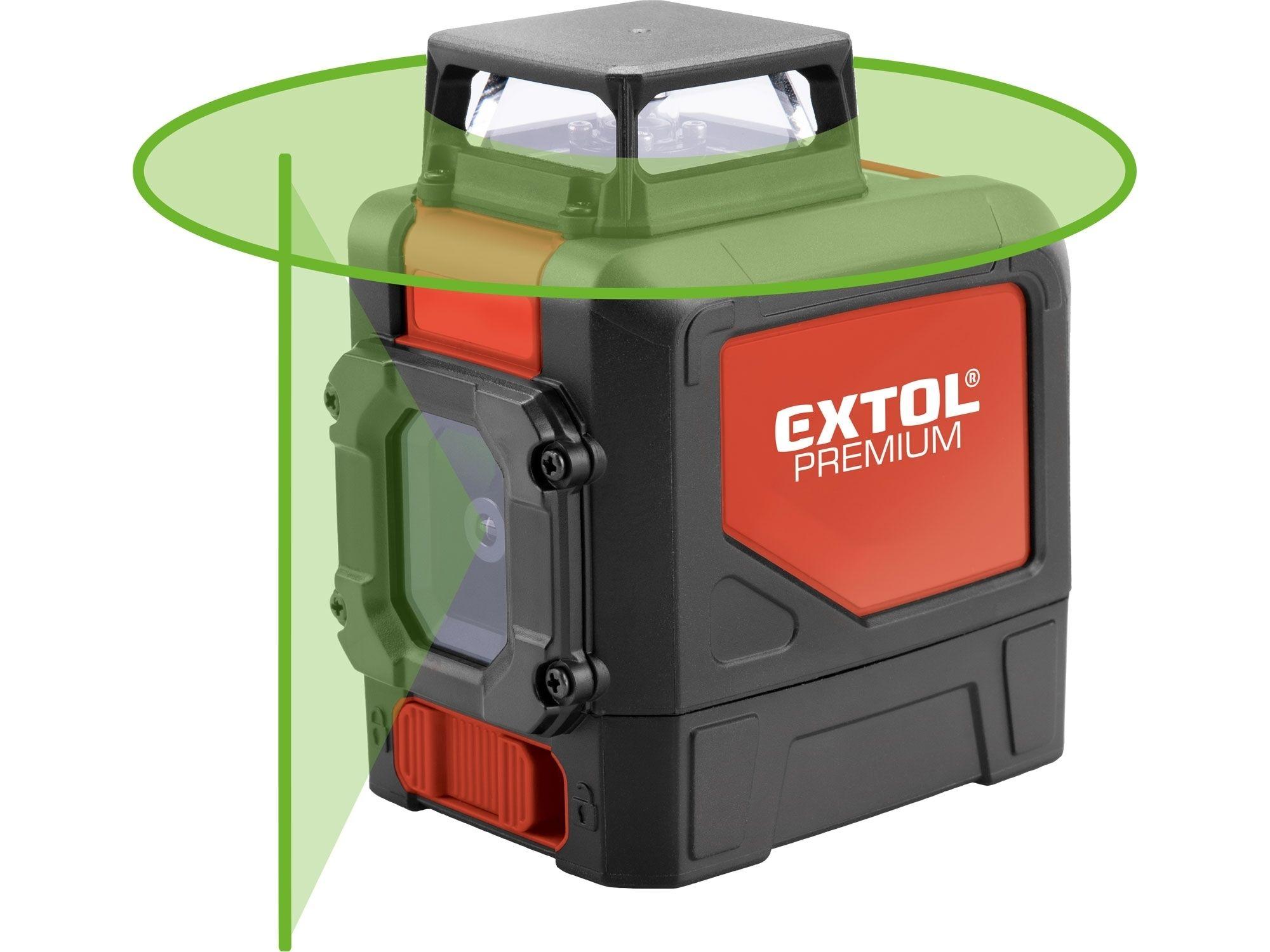 Laser zelený liniový, křížový samonivelační EXTOL PREMIUM