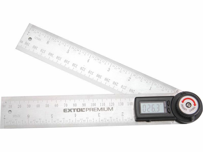 Úhloměr digitální, 200mm, s pravítkem, nerez EXTOL PREMIUM