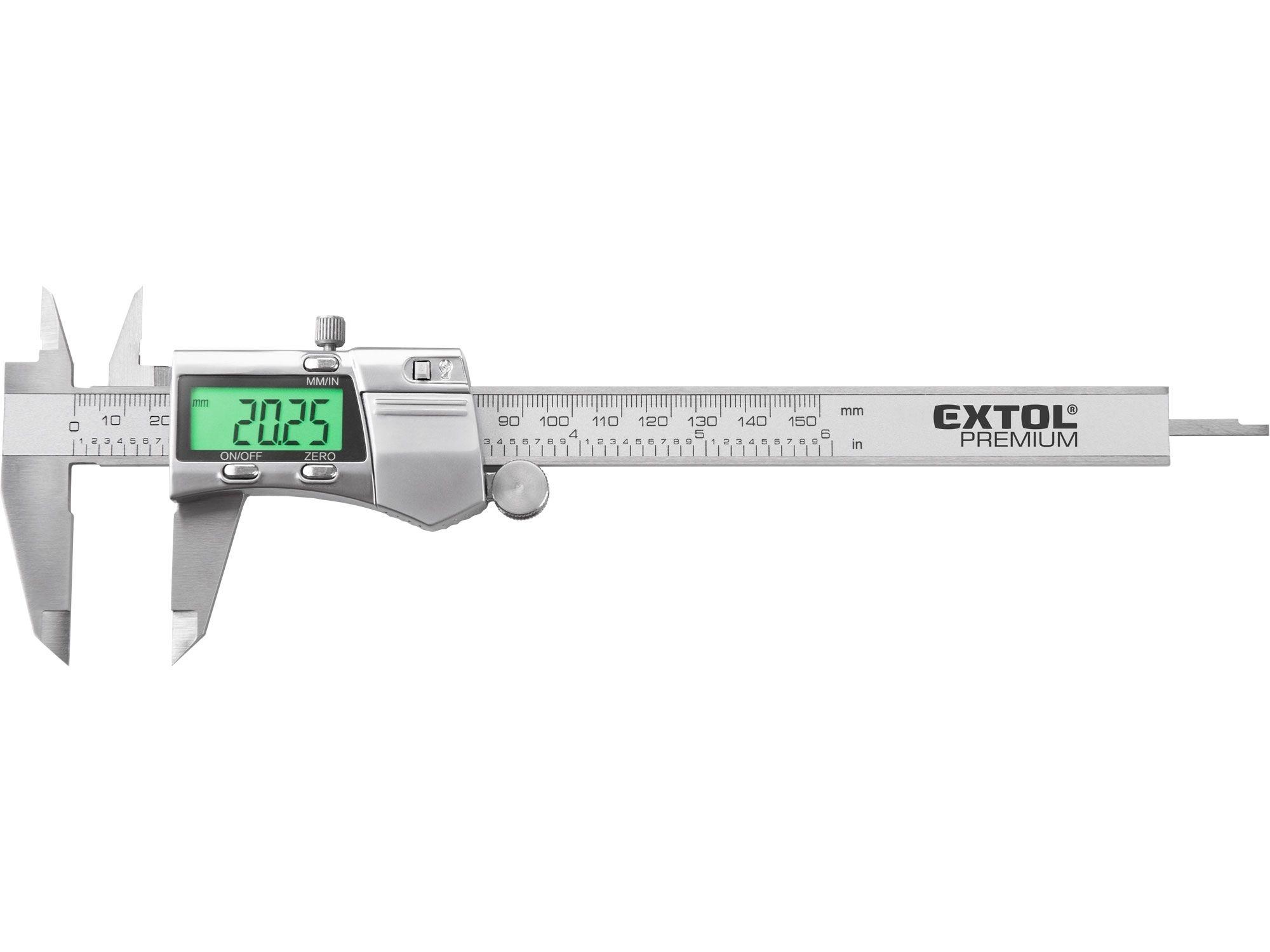 Měřítko posuvné digit. nerez, 0-150mm, podsvícení displeje EXTOL PREMIUM