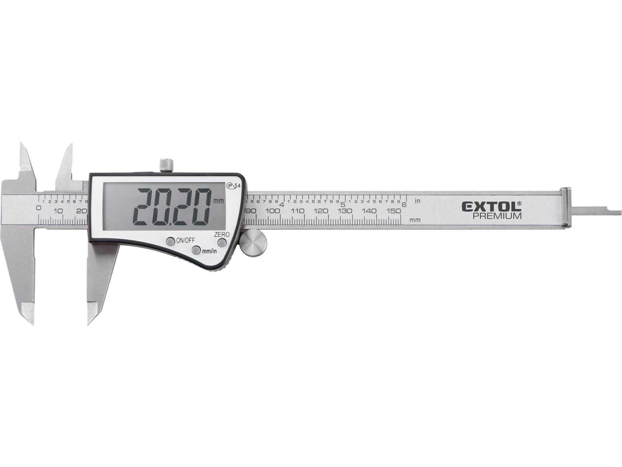 Měřítko posuvné digitální nerez, 0-150mm, IP54 EXTOL-PREMIUM