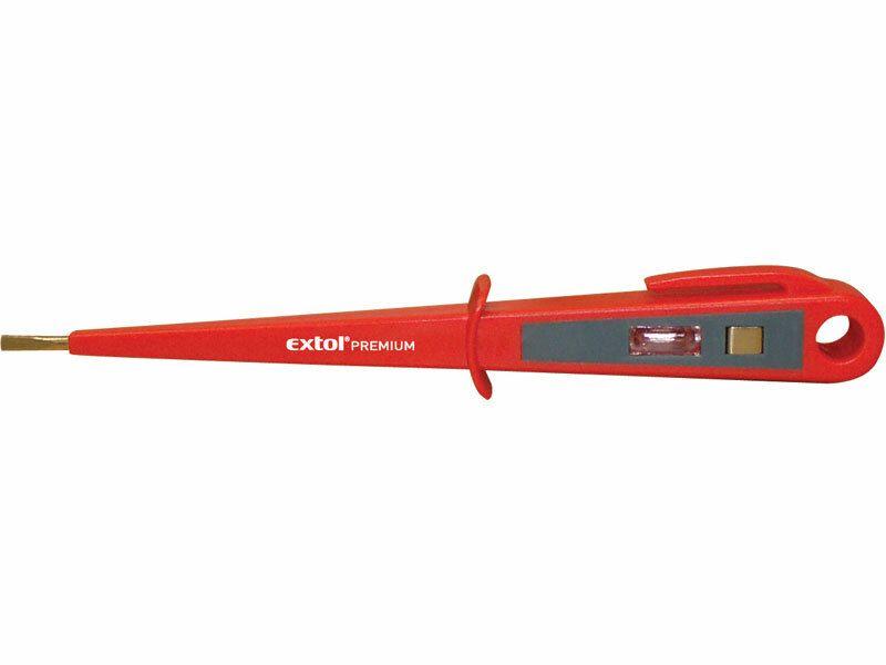 Zkoušečka napětí, 100-250V, délka 190mm, plochý šroubovák (-)3,5mm, EXTOL PREMIUM