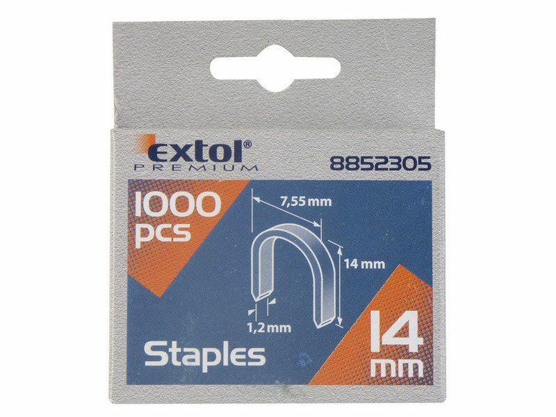 Spony oblé, balení 1000ks, 14mm, 7,55x0,52x1,2mm EXTOL-PREMIUM
