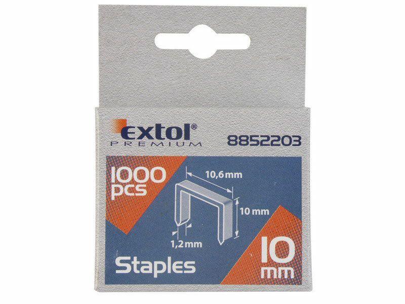 Spony, balení 1000ks, 12mm, 11,3x0,52x0,70mm, EXTOL PREMIUM