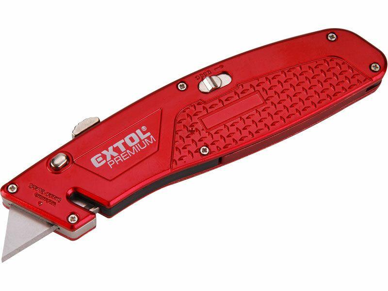 Nůž s kovovou výstuhou s výměnným břitem, 4ks náhradních břitů EXTOL-PREMIUM