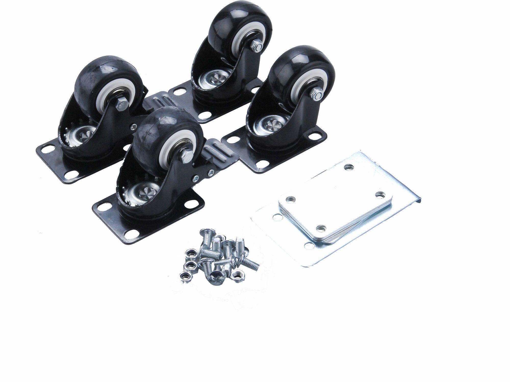 Kolečka pro L box, 4 kusy, 2 otočná kolečka s brzdou a 2 bez brzdy, průměr 50mm EXTOL-PREMIUM