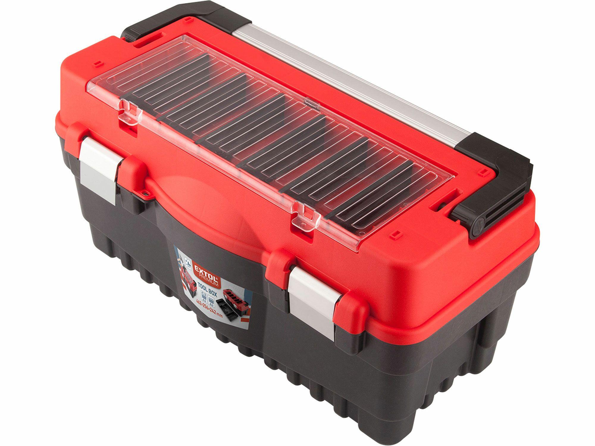 Kufr na nářadí CARBO, 547x271x278mm, nerozbitné polyk. organizery EXTOL-PREMIUM