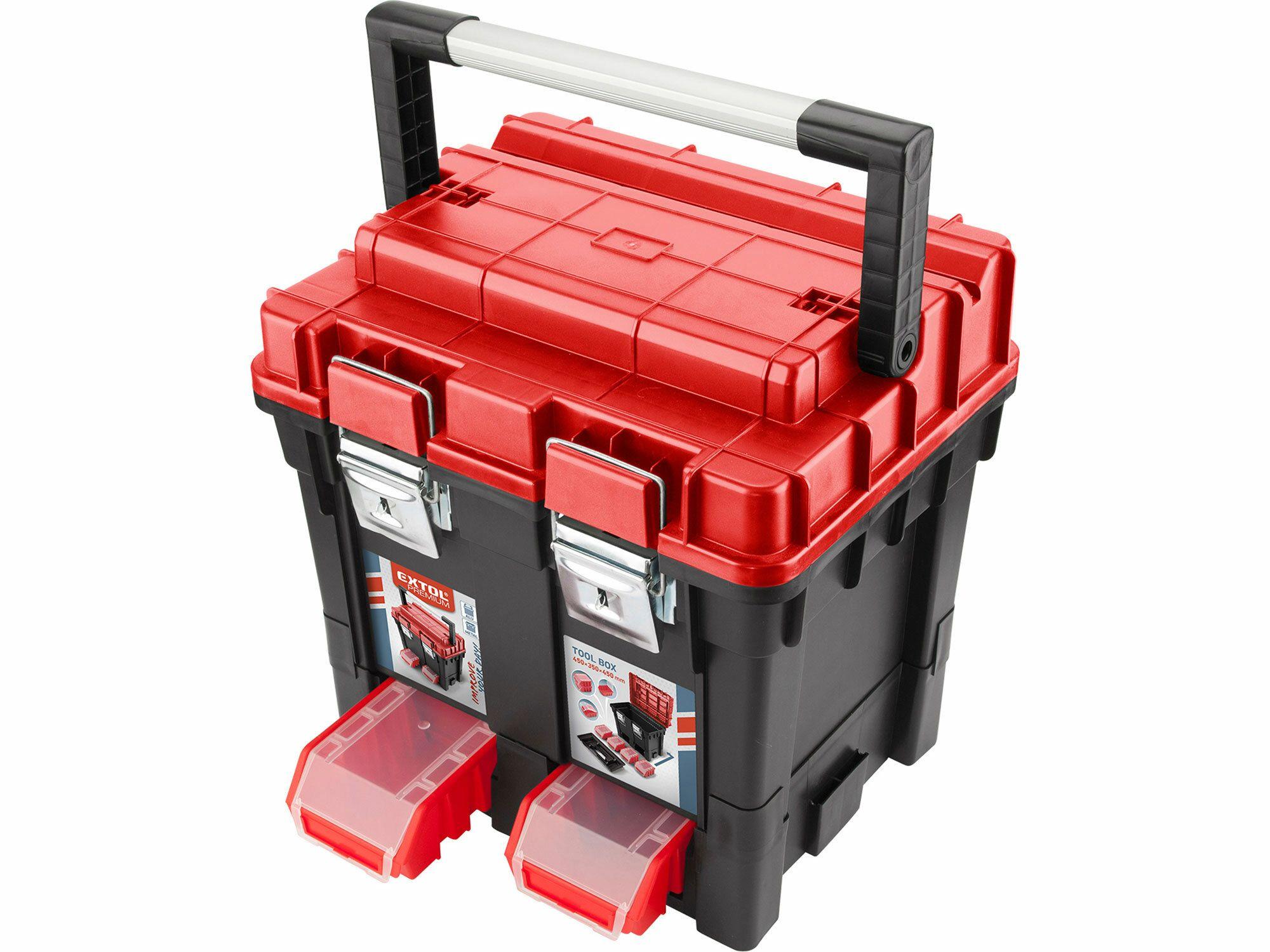 Kufr na nářadí HD, 450x350x450mm, AL rukojeť, kov.přezky, EXTOL PREMIUM