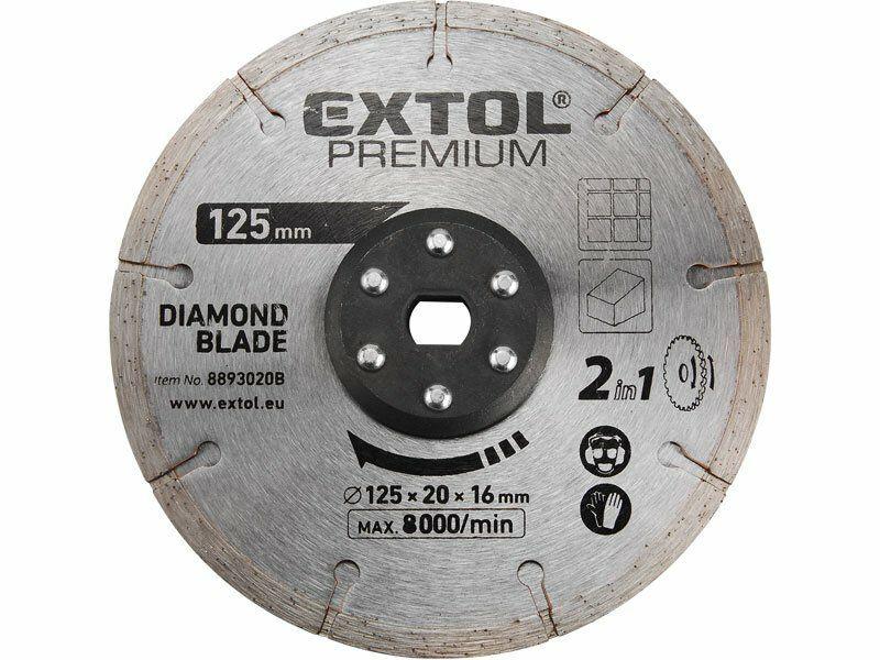 Kotouč řezný, diamantový, 125x20mm, pro 8893020, EXTOL PREMIUM
