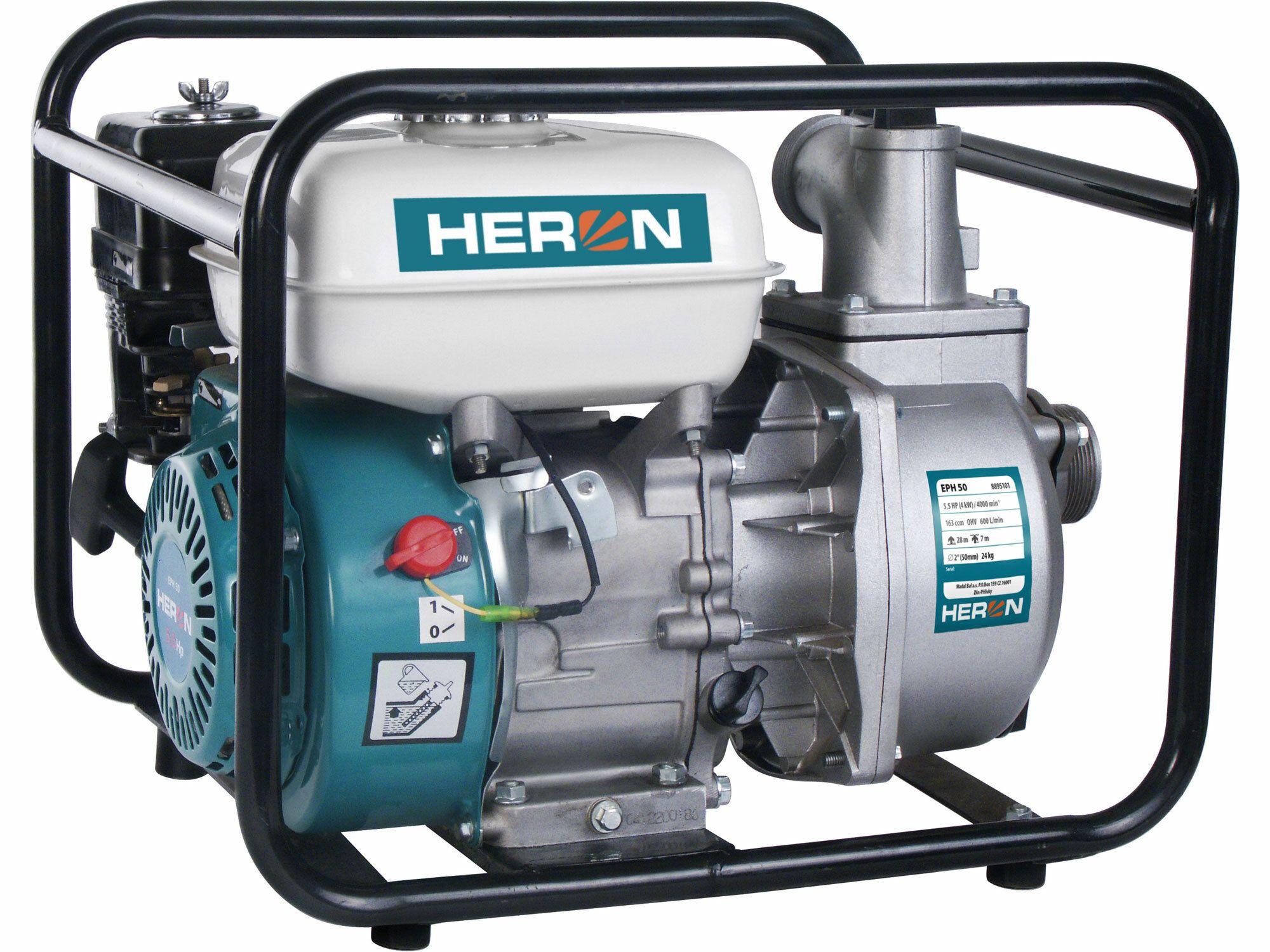 """Čerpadlo motorové proudové 5,5HP, 2""""/2"""" (51mm), 600l/min = 36m3/hod, záruka 3 roky HERON"""