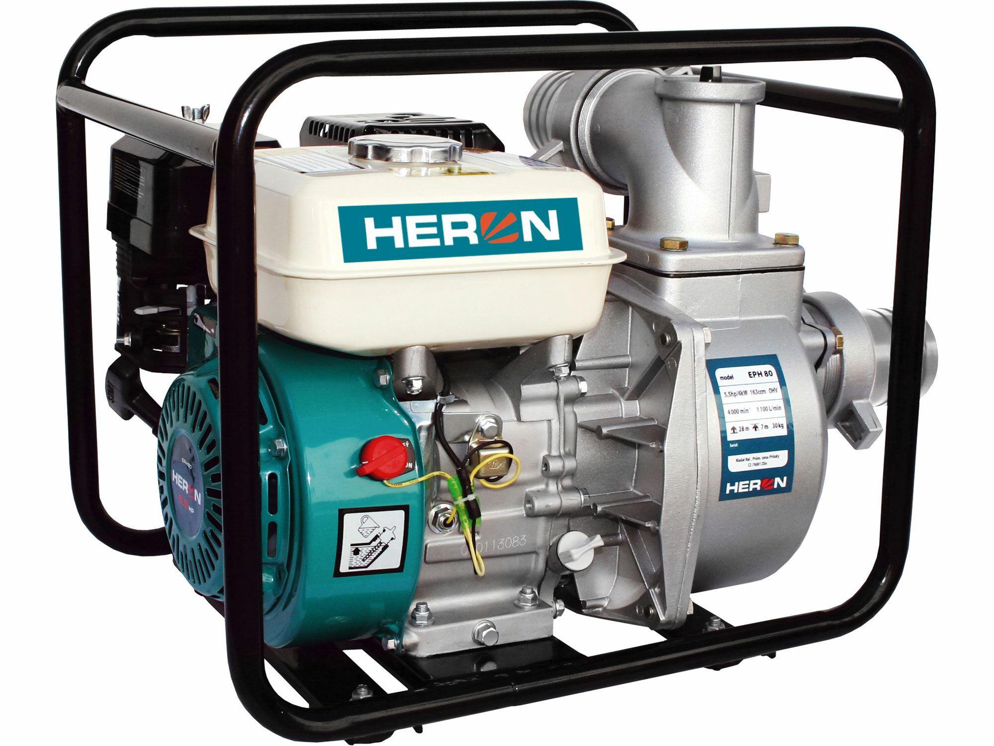 """Čerpadlo motorové proudové 6,5HP, 3""""/3"""" (76mm), 1100l/min = 66m3/hod, záruka 3 roky HERON"""