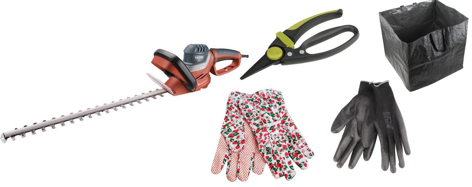 Nůžky na živé ploty, 600W, 550mm, EXTOL PREMIUM + nůžky + koš na odpad + 2x rukavice