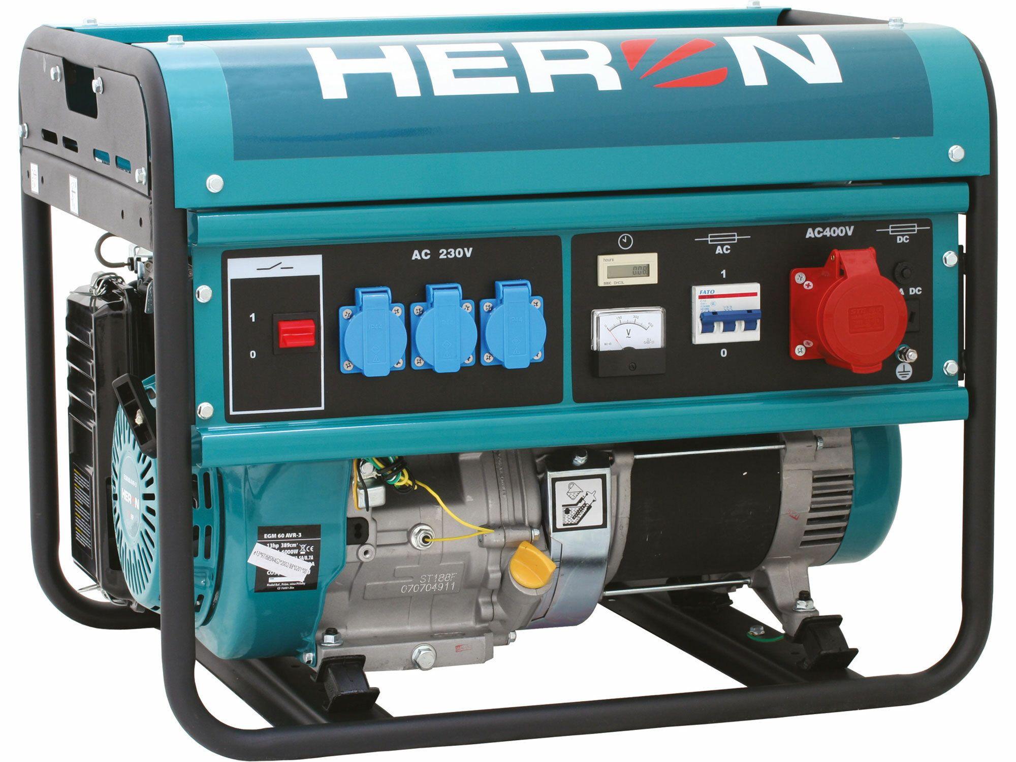 Elektrocentrála benzínová 13HP, 6,0kW (400V)/2,2kW 230V- testovací model, zalit benzínem HERON
