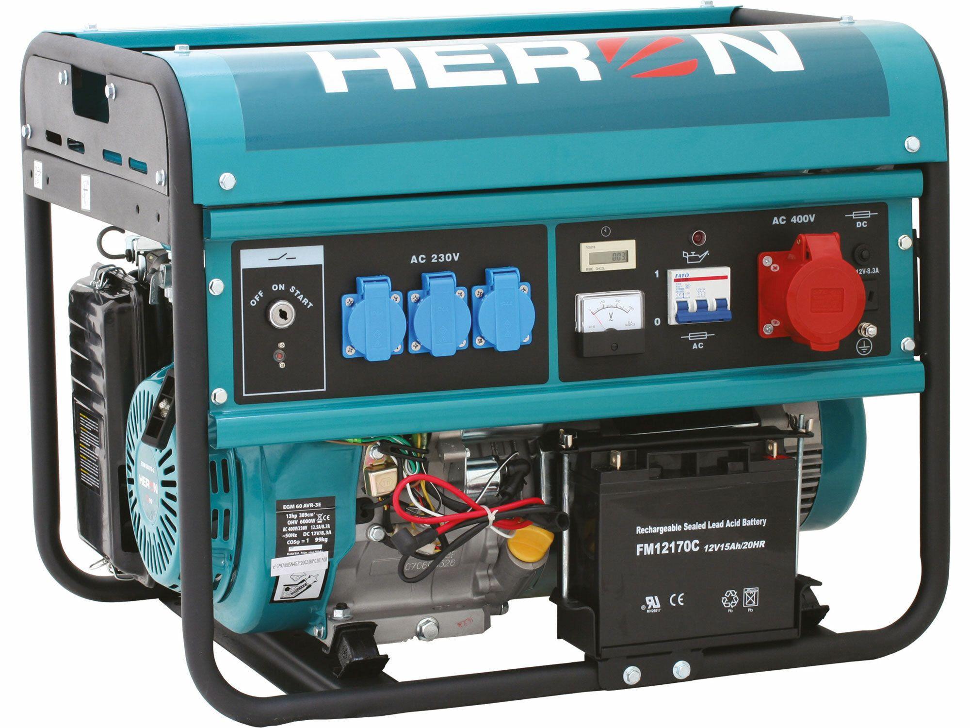 Elektrocentrála benzínová 13HP, elektr. start, 6,0kW (400V)/2,2kW (230V), záruka 3 roky HERON